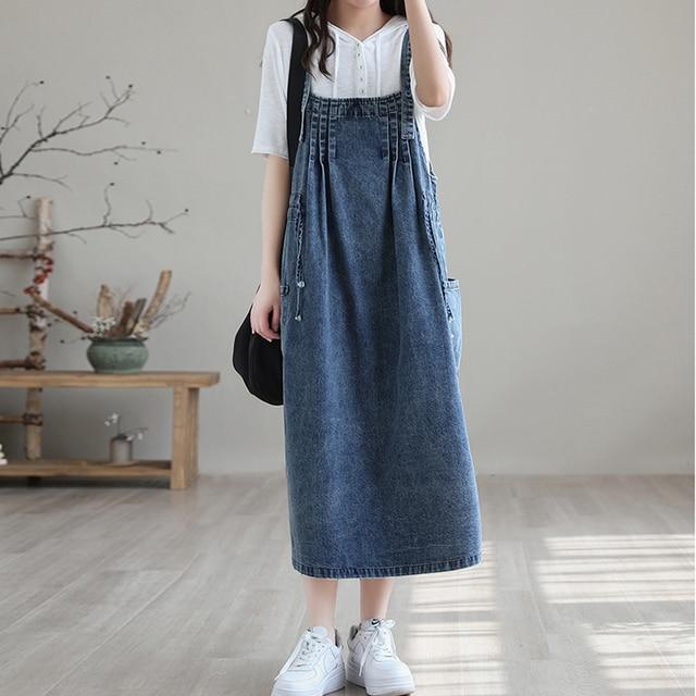 NINI WONDERLAND 2021 Summer Cotton Denim Midi Dress Women's Spaghetti Strap Loose Dress Korean Style Casual Dresses Big Size 3