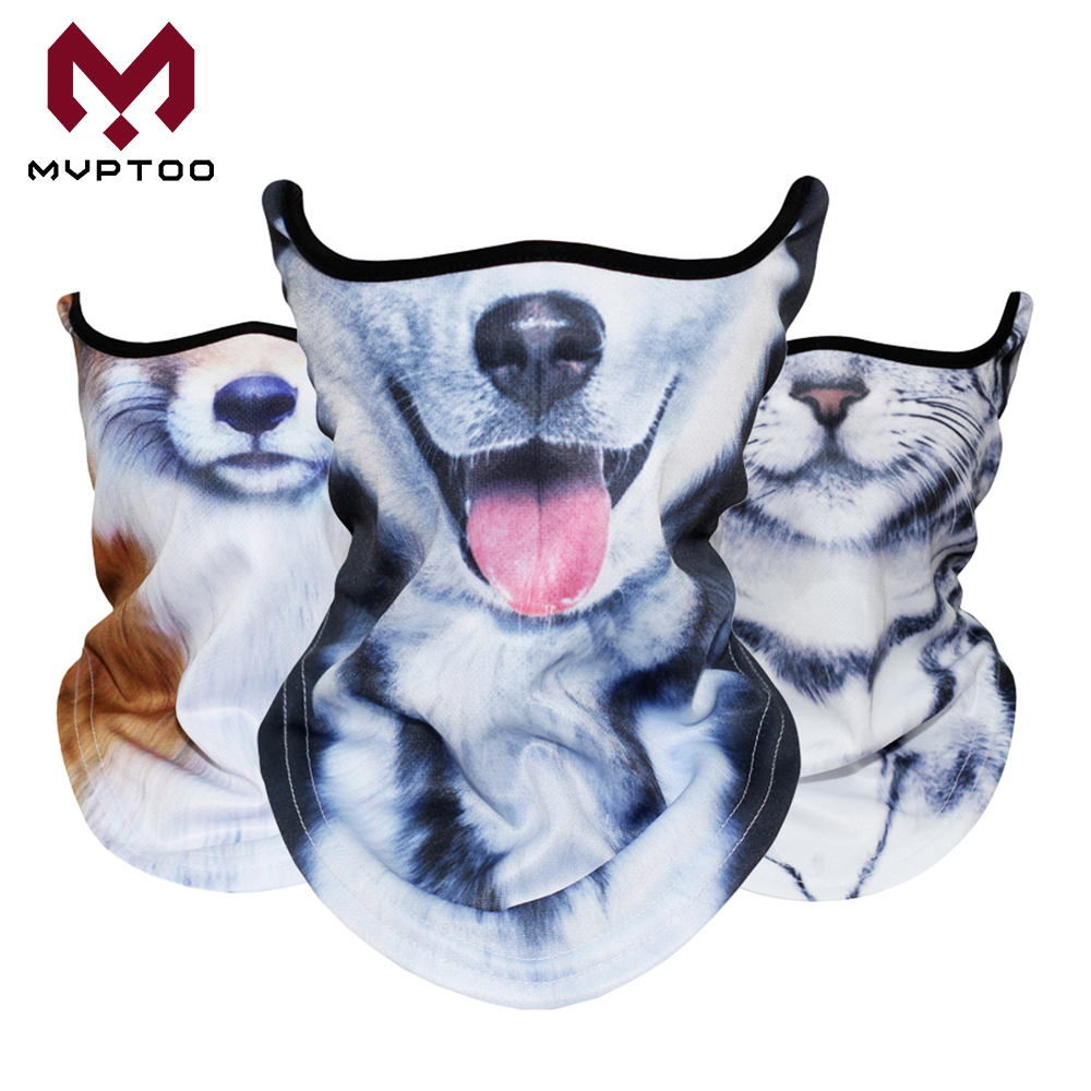 3D Animal Cat Dog Bandanas Motorcycle Moto Motorbike Head Shield Tube Scarf Ski Snowboard Cycling Face Mask Breathable Men Women