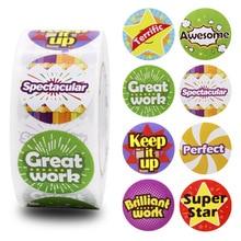 500pcs/roll reward children inspirational stickers toys decoration 8 design cartoon word scrapbook