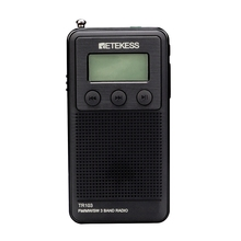 Retekess TR103 Pocket Portable Mini Radio FM / MW / SW Digital Tuning Radio 9/10Khz MP3 Music Player tecsun r 911 11 wave band fm mw sw radio blue 2 x aa