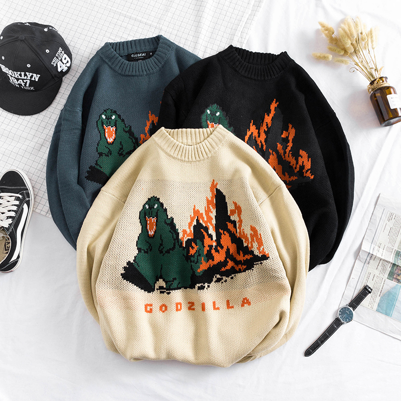 Crewneck Men's Sweater Dinosaur Erkek Mont Ugly Christmas Sweater Harajuku Pull Homme Men And Women Pullover Korean Sweaters