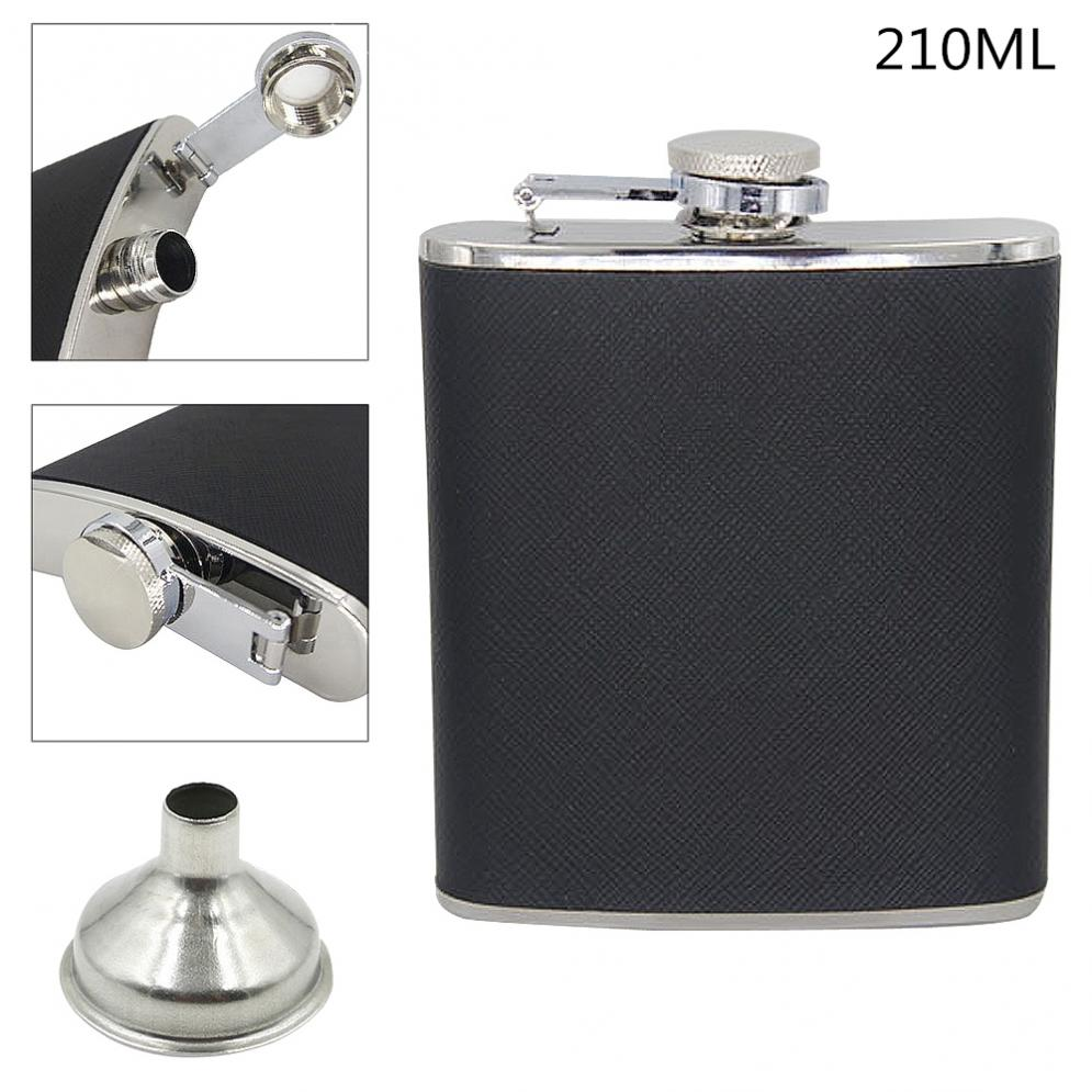Portable Stainless Steel Hip Flask With Funnel And 210ML Capacity For Festival Gift