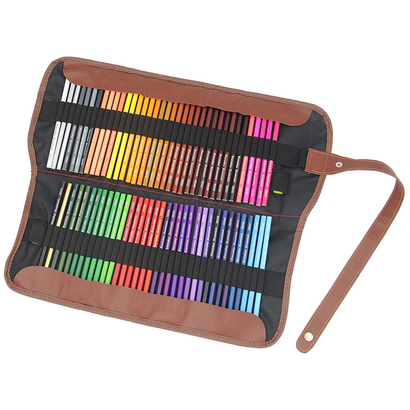 72 Pcs Individual Colors Premium Colored Pencils Set With Roll Up Pouch Canvas Pen Bag For School Office Artist Sketch