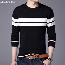 AIRGRACIAS Sweater Men Autumn Winter Warm Mens Knitted Sweaters striped Casual O-Neck Pull Homme Cotton Pullover For Man