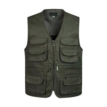 2019 mężczyźni multi-pocket klasyczny kamizelka mężczyzna bez rękawów rozładunek trwały płaszcz kamizelka robocza fotograf Tactical Mesh kamizelka tanie i dobre opinie Mlengnt CN (pochodzenie) COTTON zipper Homme Cargo Vest Famous Brand Vest Overalls Men Jacket NONE Stałe REGULAR V-neck