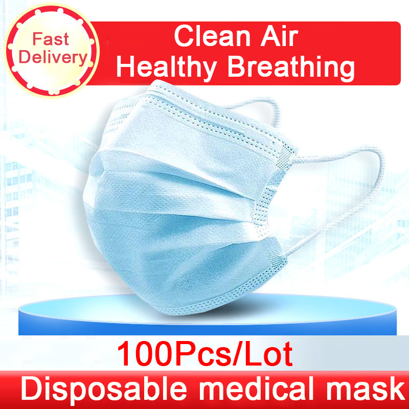 10/20/50/100Pcs Antivirus 1 Disposable Mask Virus Nonwove 3 Layer Ply Filter Mouth Face Mask Dust BFE95 Meltblown Mouth Masks