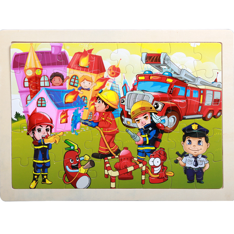 40 Pieces Kids Wooden Puzzle Board Toy Fun Cartoon Animal Jigsaw Boy Girl Baby Early Educational Learning Toys for Children Gift 10