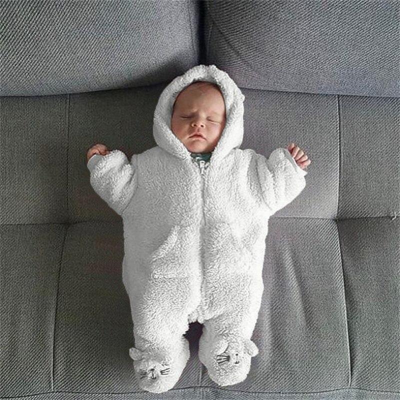 Winter Newborn Rompers Sleeping Bag Cotton Children\'s Velvet Coral Baby Girls Jumpsuits Boy Sleeping Clothes Baby Bear Cart