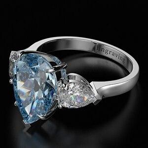 Image 5 - Wong Regen 100% 925 Sterling Silber Birne Erstellt Moissanite Aquamarin Edelstein Hochzeit Engagement Ring Edlen Schmuck Großhandel
