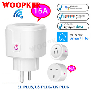 16A Smart Plug WiFi Socket EU UK US Plug Timing Intelligent Socket Remote Control Works With Alexa Google Home Amazon Alexa