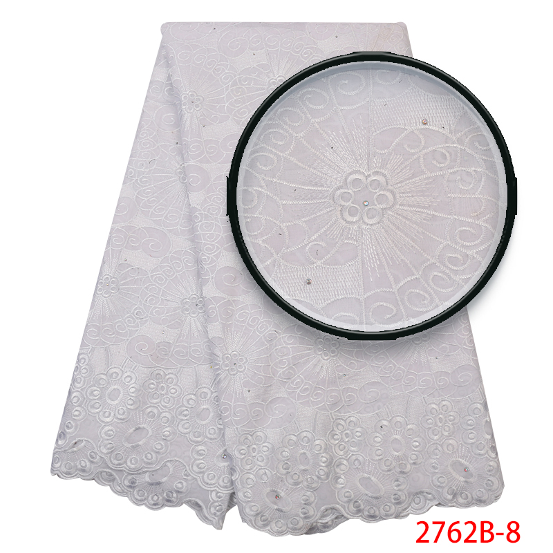 Best Selling African Soft Cotton Lace Swiss Voile Lace High Quality Embroidered Fabric For Women Dress With Stones KS2762B-8