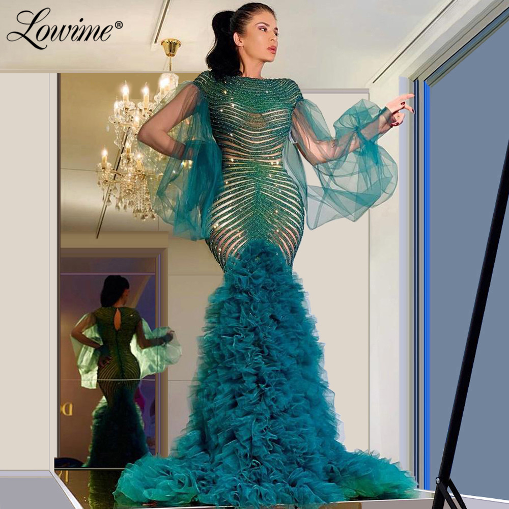 Beads Mermaid Evening Dress Robe De Soiree 2020 Pageant Party Gowns Puffy Long Sleeves Prom Dresses Aibye Wedding Party DressEvening Dresses   -