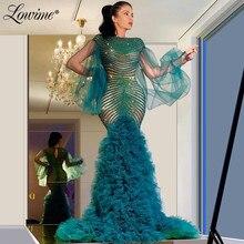 חרוזים בת ים שמלת ערב Robe דה Soiree 2020 תחרות מסיבת שמלות נפוחה ארוך שרוולי שמלות נשף Aibye מסיבת חתונת שמלה