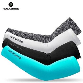 2Pcs ROCKBROS Gelo Tecido Ciclismo Manga Braço Respirável Proteção UV Arm Sleeve para Correr Ao Ar Livre de Acampamento de Pesca Equipamentos de Segurança
