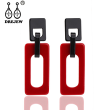 DREJEW White Yellow Red Green Blue Rectangle Acrylic Statement Earrings Christmas Alloy Drop for Women Jewelry E503
