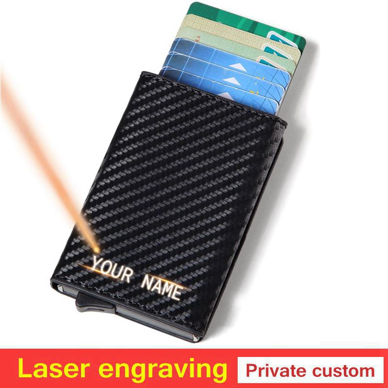 Laser Engraving Men Wallet Credit Card Holder Mini Aluminum Box Card Wallet RFID Leather Pop Up Card Case Coin Purse Gift