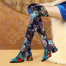 Купить с кэшбэком Meotina Winter Thigh High Boots Women Flower Thick High Heel Over The Knee Boots Sexy Slim Stretch Shoes Lady Autumn Size 34-39