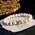 Модный мужской браслет с подвеской, цвет белый, мужской браслет ручной работы с золотым леопардовым рисунком
