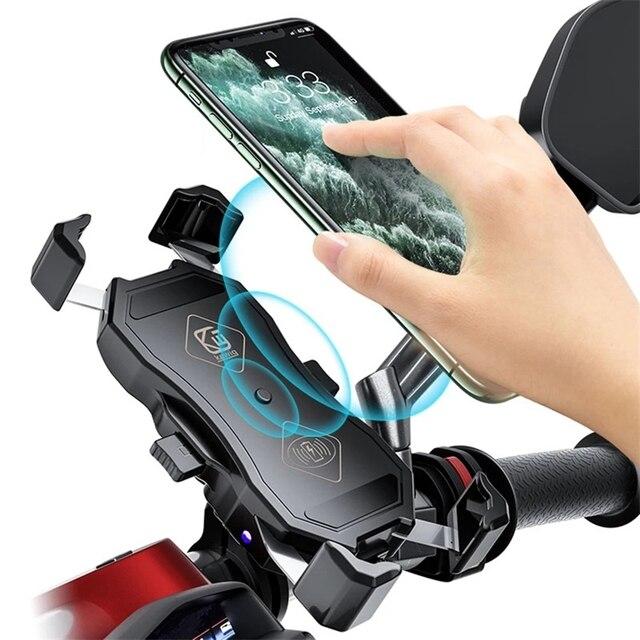 אופנוע טלפון מחזיק 15W אלחוטי חכם מטען QC3.0 חוט Charing 2 ב 1 חצי אוטומטי Stand 360 תואר סיבוב סוגר
