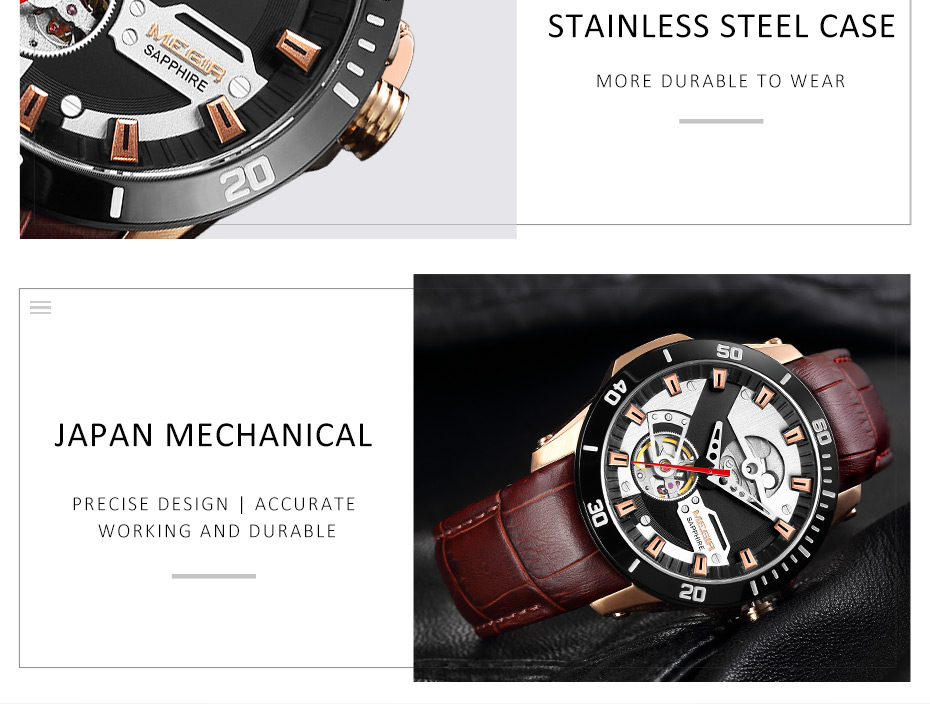 Ha2d934c1f9f842b3a8a7ad0899dcb761E MEGIR Men Mechanical Wristwatches Leather Strap Automatic Mechanical