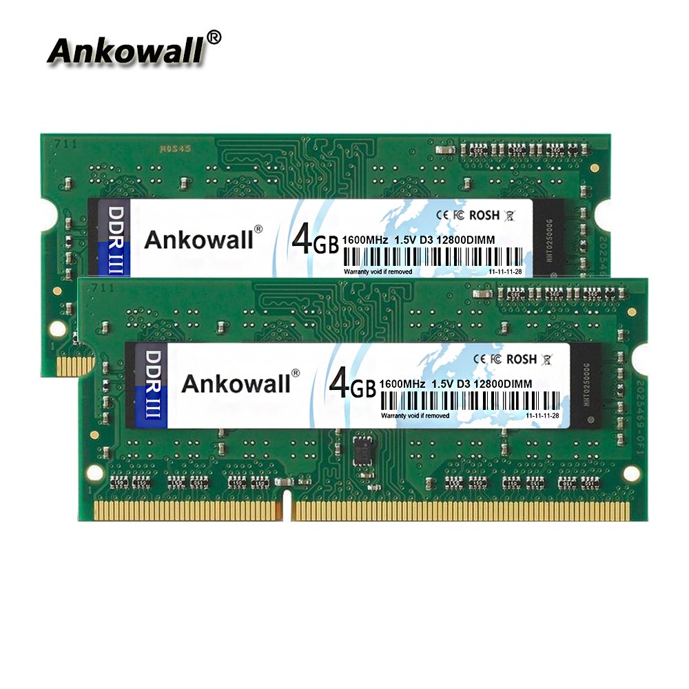 Ankowall <font><b>DDR3</b></font> 1600Mhz <font><b>8GB</b></font> Kit (2 x 4GB) 4GB RAM <font><b>1600</b></font> MHz SODIMM <font><b>Notebook</b></font> Memory PC3-12800 Laptop RAM image
