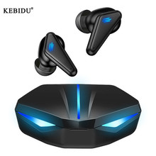 Kebidu TWS لاسلكيّ Bluetooth5.0 سماعات مع مصباح ليد منخفض الكمون ألعاب ستيريو سمّاعات أذن لاسلكيّة مقاوم للماء للهاتف