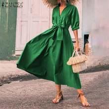 Womens elegante sólido arco cinto robe zanzea verão vintage vestidos de férias feminino v pescoço vestidos moda longo maxi vestido oversize