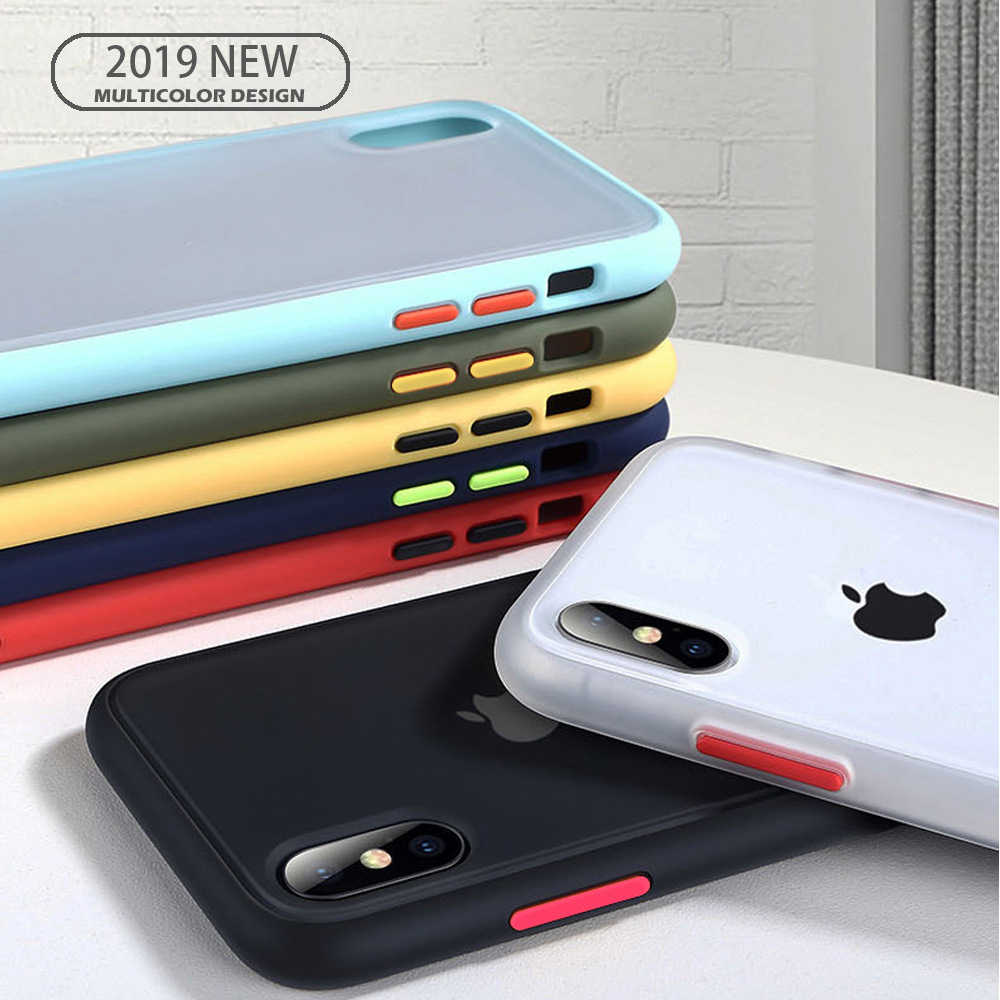 Lovebay Transparan Anti-Shock Frame Hard Pc Permen Warna untuk iPhone 11 7 8 8 PLUS XR X XS 11Pro Max Matte Back Cover