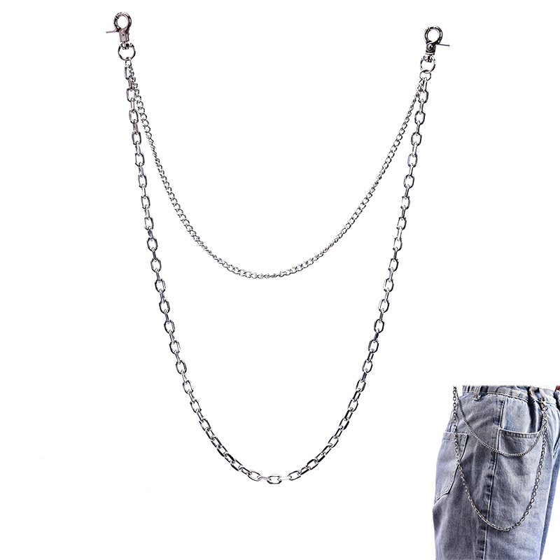 3 Styles Fashion Punk Hip-hop Belt Waist Chain Multilayer Male Pants Chain Jeans Punk Silver Color Metal Big Ring Pants Chains