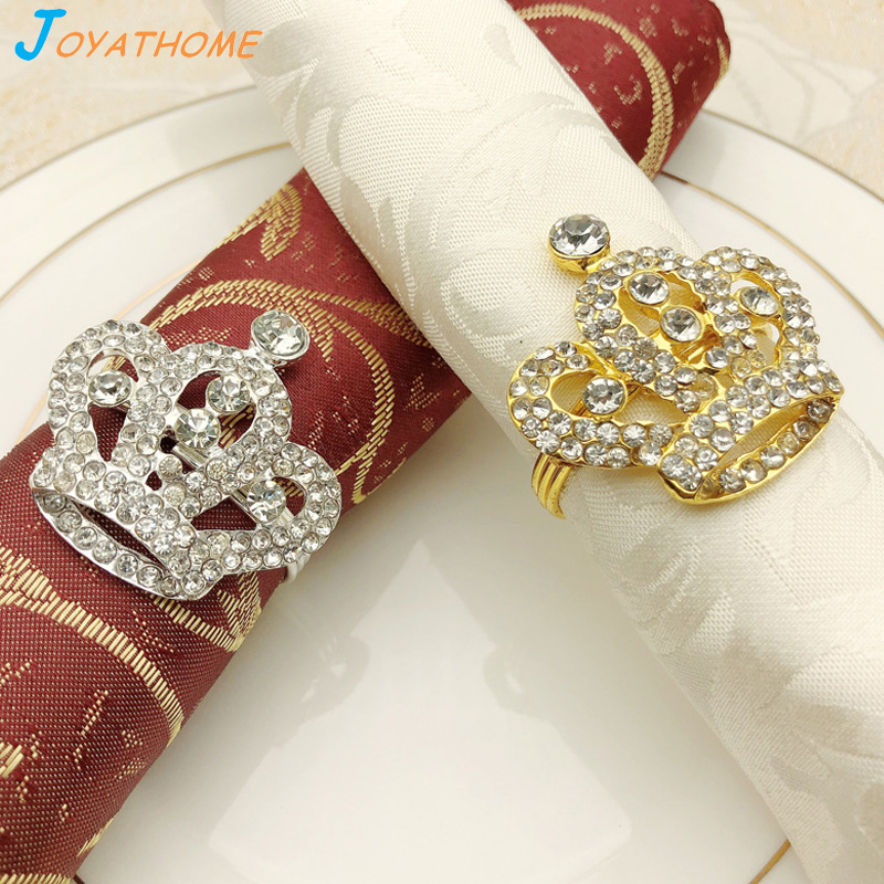 Joyathome 10pcs/Lot Crown Gold Plated Diamond Napkin Ring Golden Alloy Buckle for Hotel Wedding Party Table Decoration