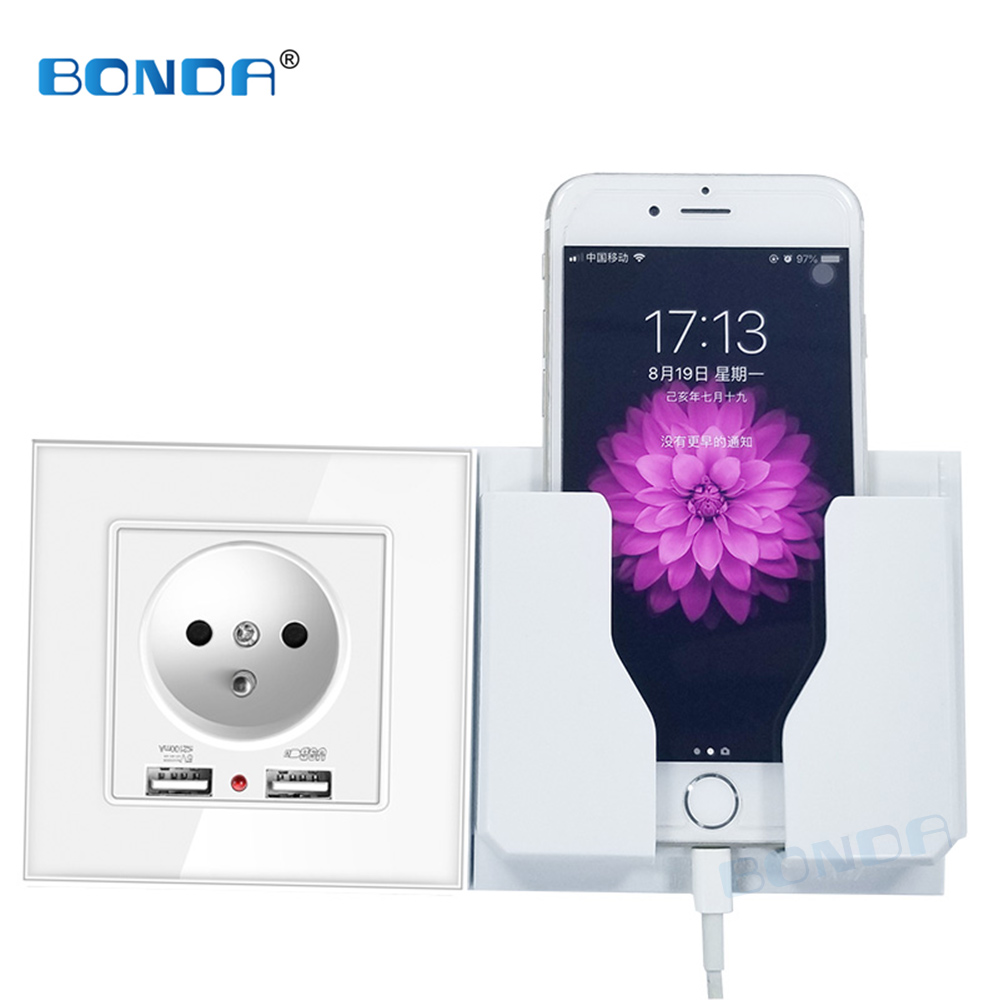 BONDA Dual USB Power Socket EU French  Standard Wall Socket Charger Adapter Electric Wall Charger Adapter Tempered Glass Panel