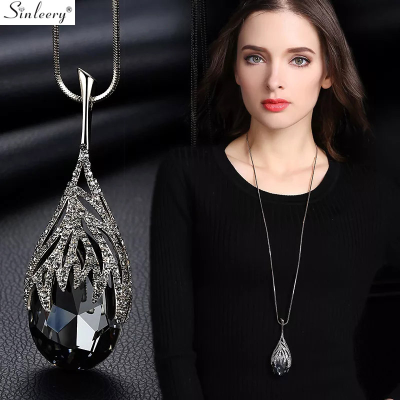 Fashion Colorful Drop Shape Heart Glass Pendant Necklace Women Costume Jewelry