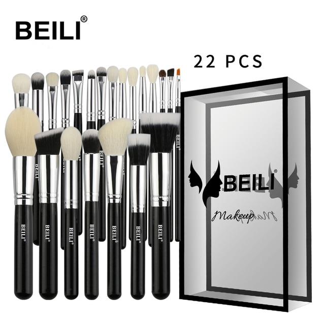 BEILI Black Luxe Professional 22pcs  Synthetic hair Powder Foundation Goat hair Eye shadow Blending Makeup Brush set