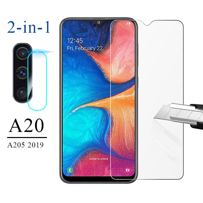 2 IN 1 Tempered <font><b>Glass</b></font> for <font><b>Samsung</b></font> Galaxy A20 Screen Protector Camera Lens A205 2019 SET on Protective <font><b>Glass</b></font> <font><b>A</b></font> <font><b>20</b></font> SM-A205FN/DS image