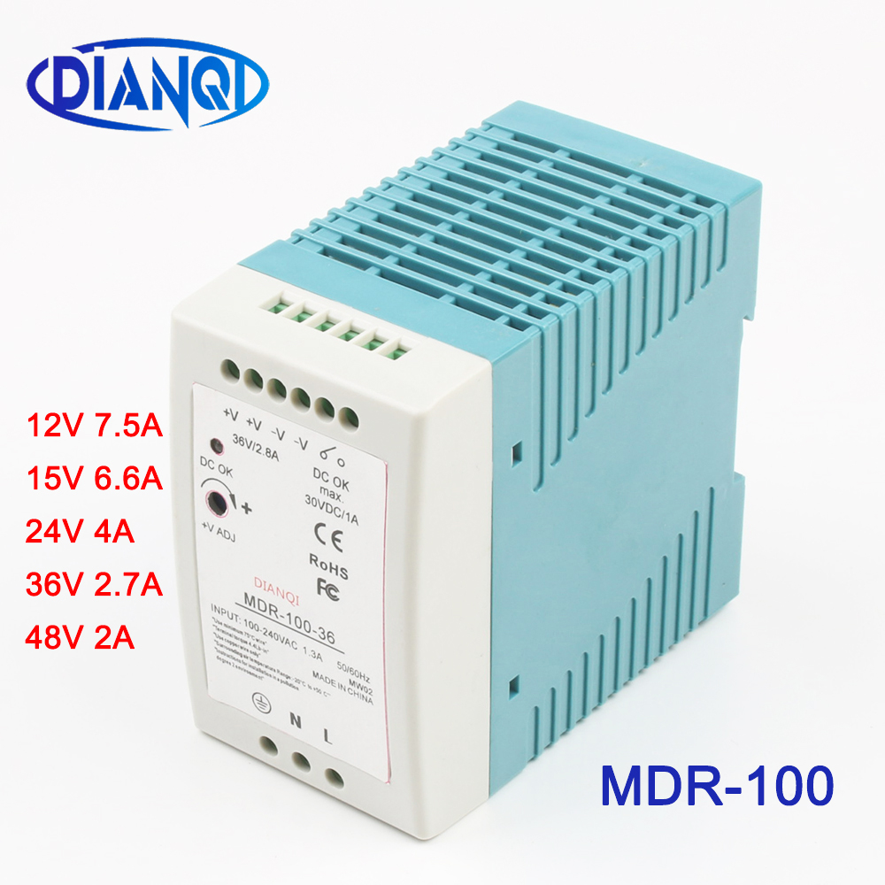 Mini Size Single Output Industrial <font><b>DIN</b></font> Rail switching Power Supply <font><b>ac</b></font> <font><b>dc</b></font> MDR 100W driver output 12V 15V <font><b>24V</b></font> 36V 48V With CE image