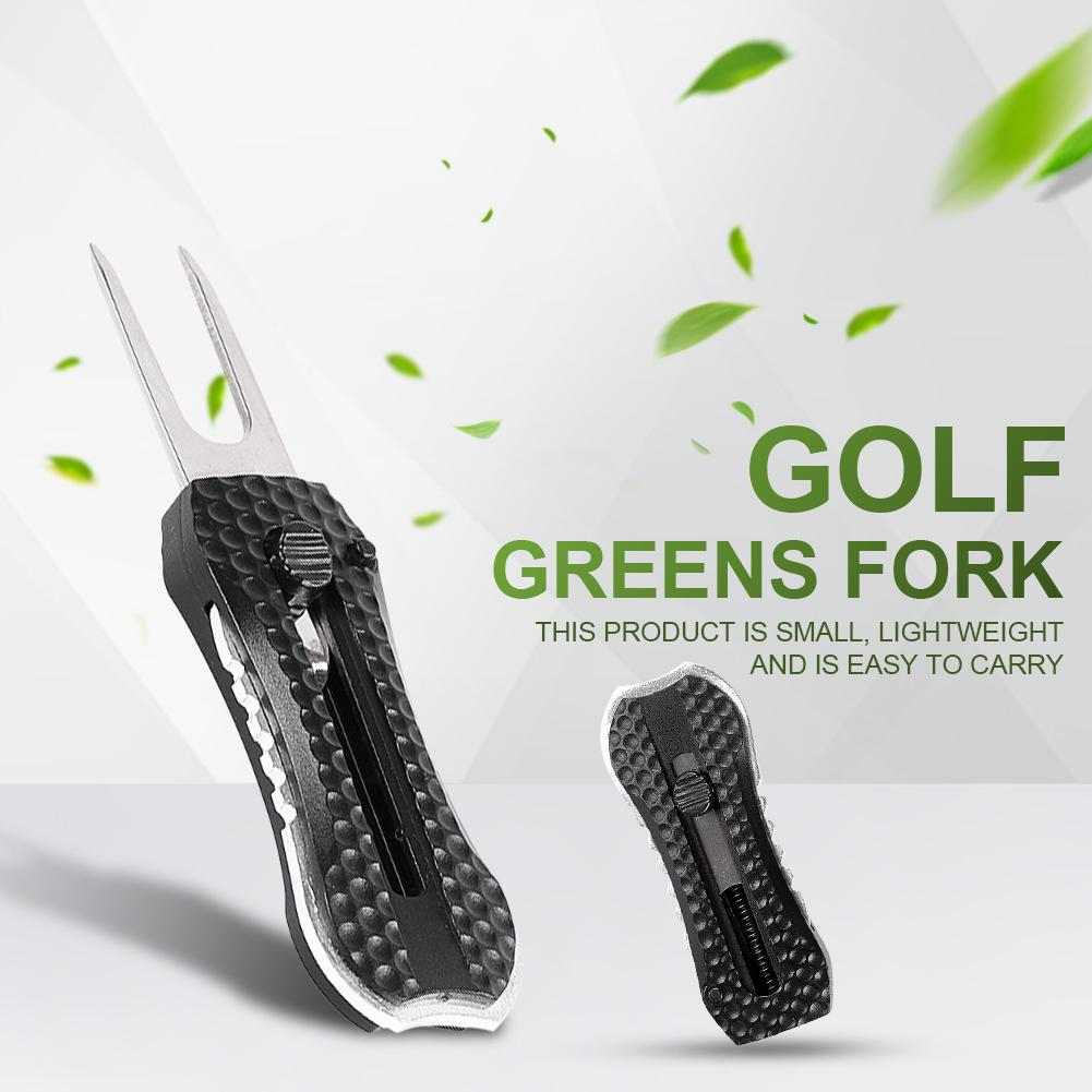 Multi-Function Golf Pitch Repair Divot Tool Portable Switchblade Golf Divot Putting Green Repair Tool With Ball Maker-Black