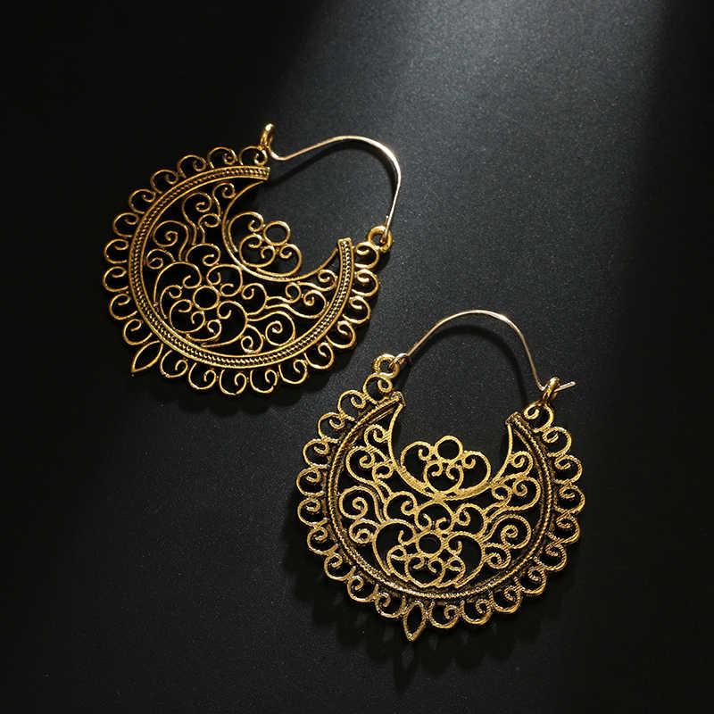 Tocona Vintage Antike Gold Silber Schwarz Hohl Blume Metall Hoop Ohrringe Punk Legierung Ohrring Brincos für Frauen Schmuck 5673