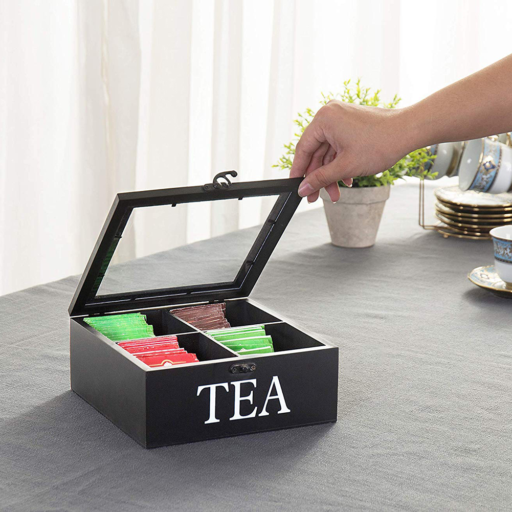 4 Cells Wooden Visible Storage Box with Lid & Latch for Tea Bag Jewelry Coffee Retro Style 23*23*9CM Storage Box Organizer