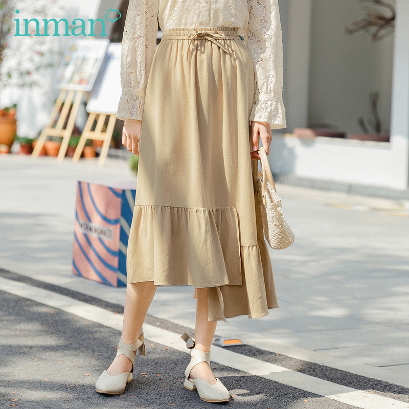 INMAN 2020 Summer New Arrival Pure Cotton Bowknot Elastic Waist Irregular Hem Fashion Skirt