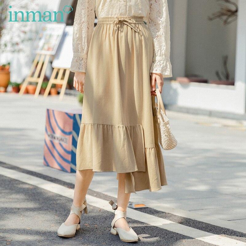 INMAN 2020 Summer New Arrival Pure Cotton Bowknot Elastic Waist Irregular Hem Fashion Skirt