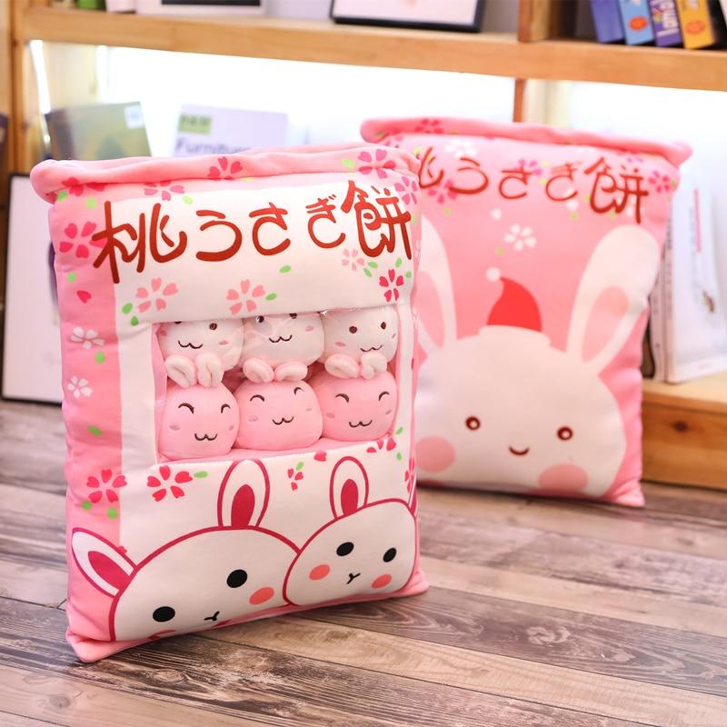 Kawaii Sakura Rabbit Ball Wagashi Plush Toy Triver Plushie Rabbits Doll Soft Stuffed Bunny Doll Creative Kids Pillow Home Decor
