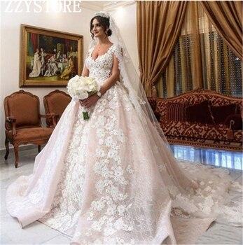 Gorgeous ivory bridal gown 3D flowers beading Cap Sleeves Luxury Appliques Beading lace wedding dress vestidos de noivas фото