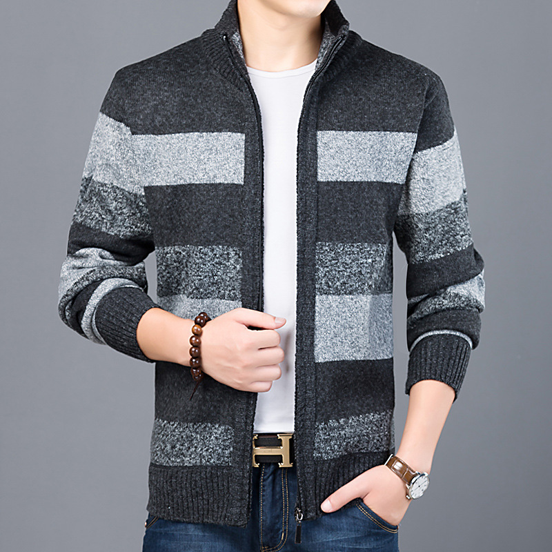Men's Fashion Sweater Zipper Cardigan Jacket Casual Slim Warm Thick Long Sleeve Stand Collar Color Matching Sweater For Men