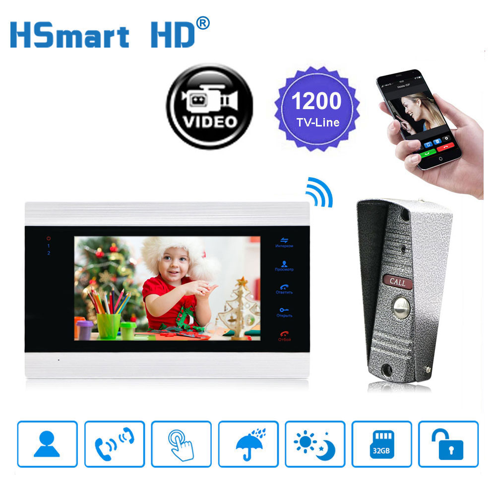 Sistema de intercomunicación de 7 pulgadas inalámbrico WiFi Smart IP para videoportero HD AHD 720P 1200TVL timbre de puerta con cable Cámara soporte de desbloqueo remoto