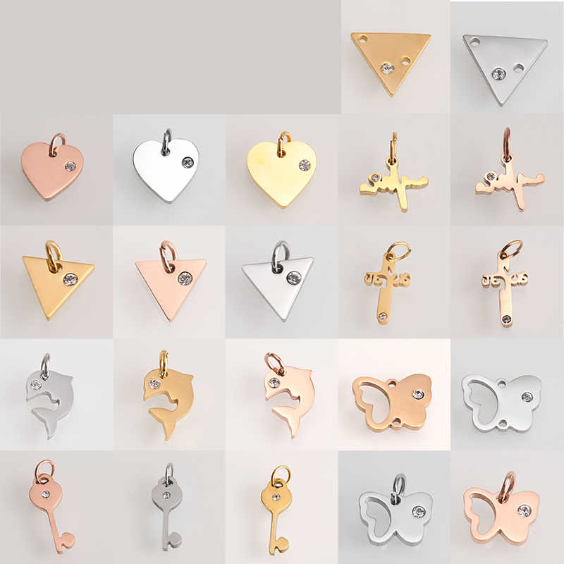 Charm Simple Gold/Silver Stainless Steel Heart Anchor Tag For Bracelets & Bangles & Necklace Women Men Jewelry Making Wholesale