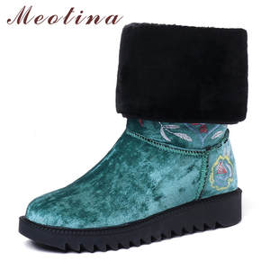 Meotina Women Boots Toe-Shoes Flower Round Plus-Size Winter 34-43 Slip-On Flat Mid Embroider