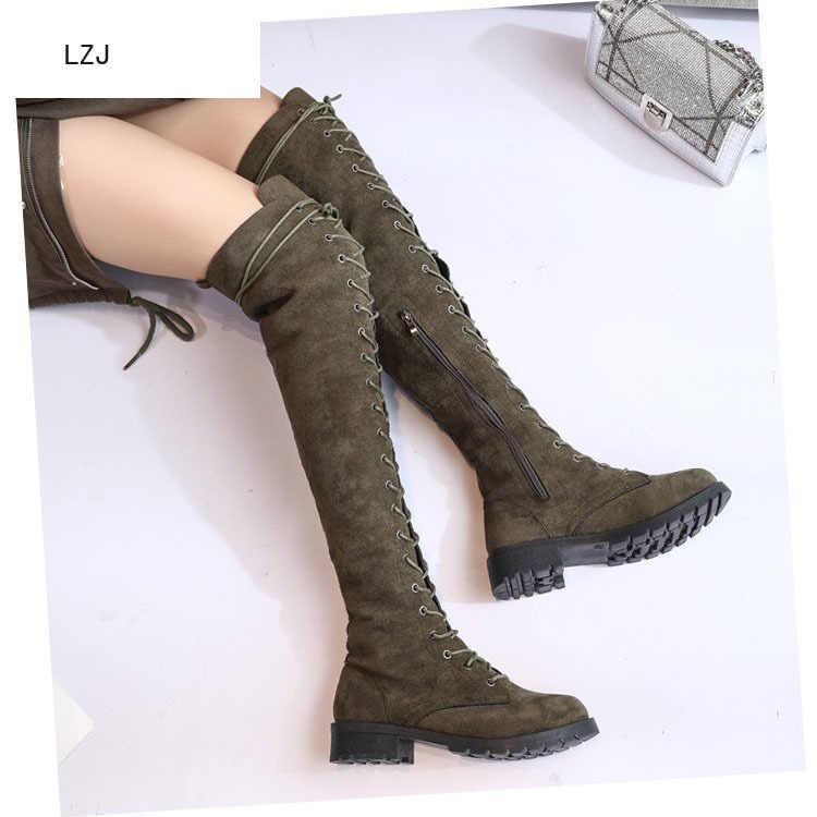 LZJ ใหม่ 2019 ผู้หญิงกว่าเข่ารองเท้าผู้หญิงรอบหัวยึดหญิงรองเท้า Frenulum สแควร์ส้นรองเท้าขายร้อน Warm botas Mujer