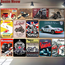 Car Motorcycle Metal Poster Norton BSA Vespa Retro Plaque Wall Art Painting Plate Pub Bar Garage Decor Vintage Tin Sign MN125