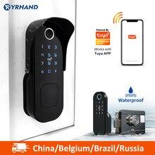 Tuya Smart lock Wasserdichte Wifi Fingerprint Rim Lock Smart Karte Digitale Code Elektronische Türschloss Für Home Security Einsteckschloss