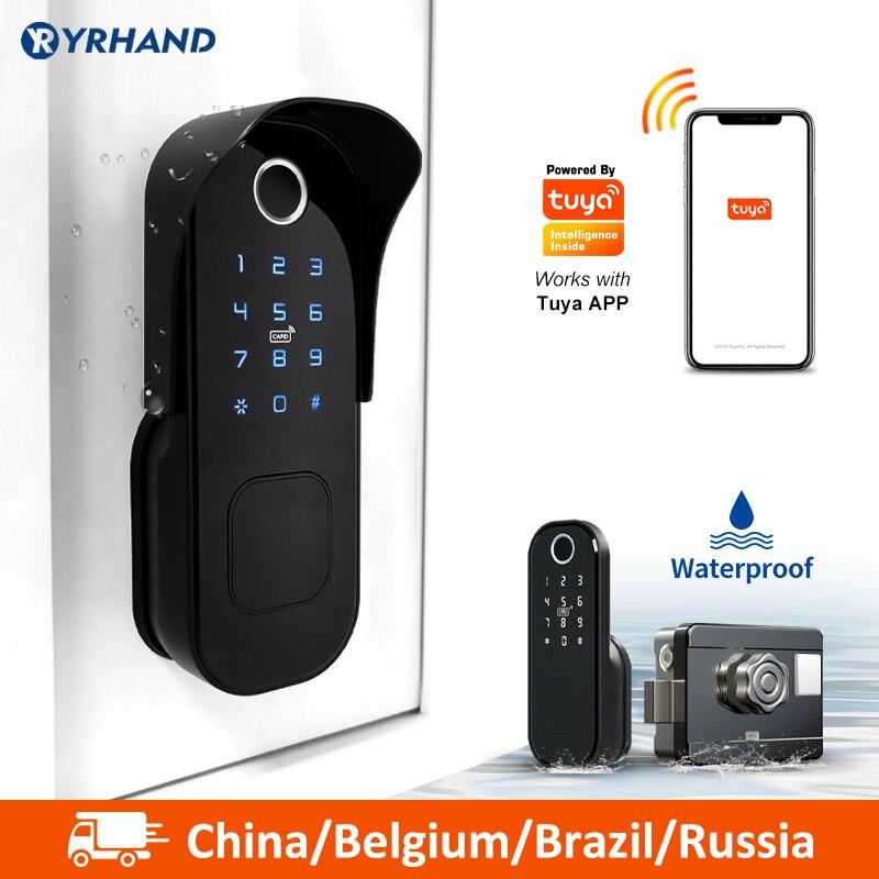 Tuya חכם מנעול עמיד למים Wifi טביעות אצבע שפה מנעול חכם כרטיס דיגיטלי קוד אלקטרוני מנעול דלת בית אבטחה לגרז